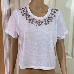 Chelsea & Violet beaded crop top shirt white sz M